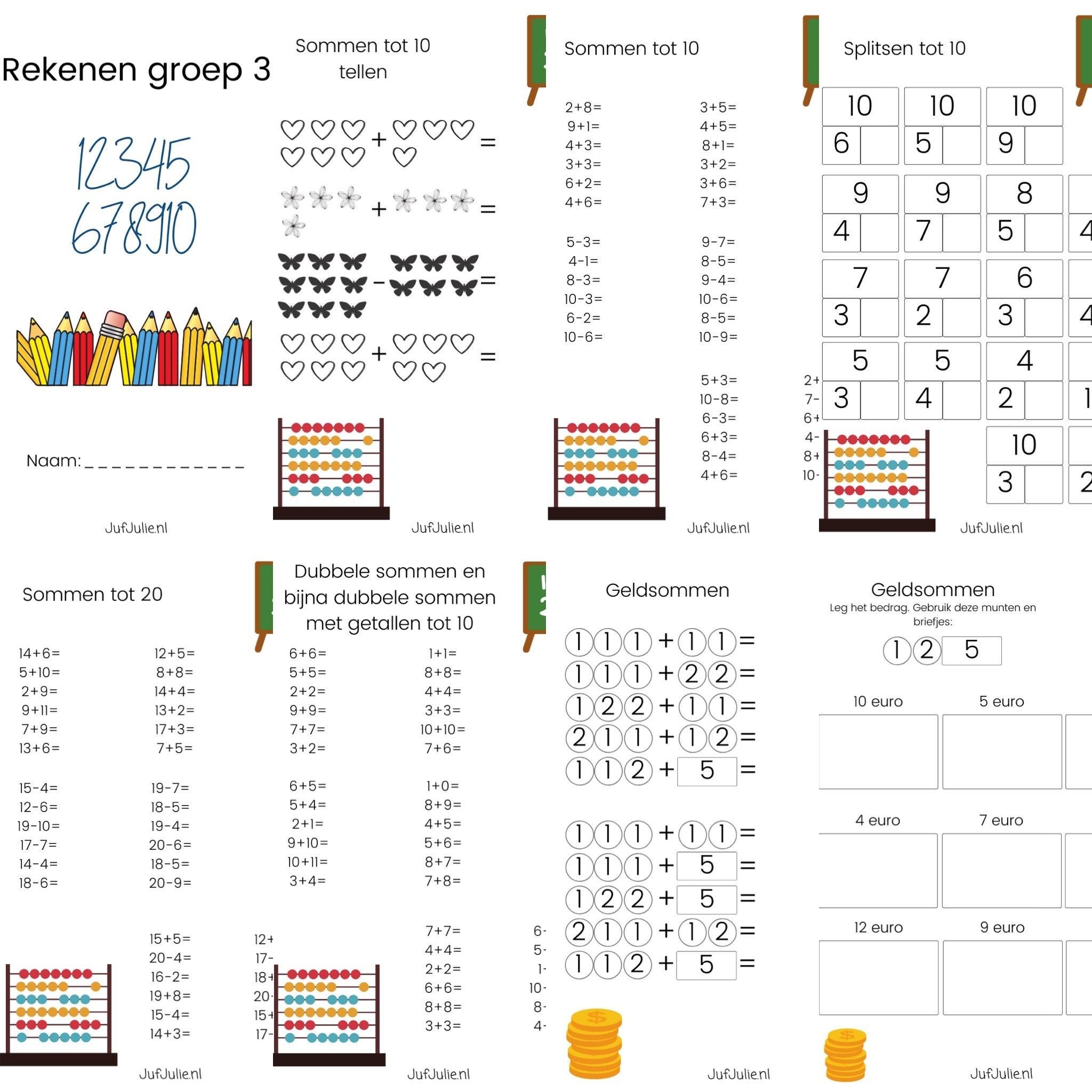 Spiksplinternieuw Werkboekje rekenen groep 3 #1 - Juf Julie GV-46