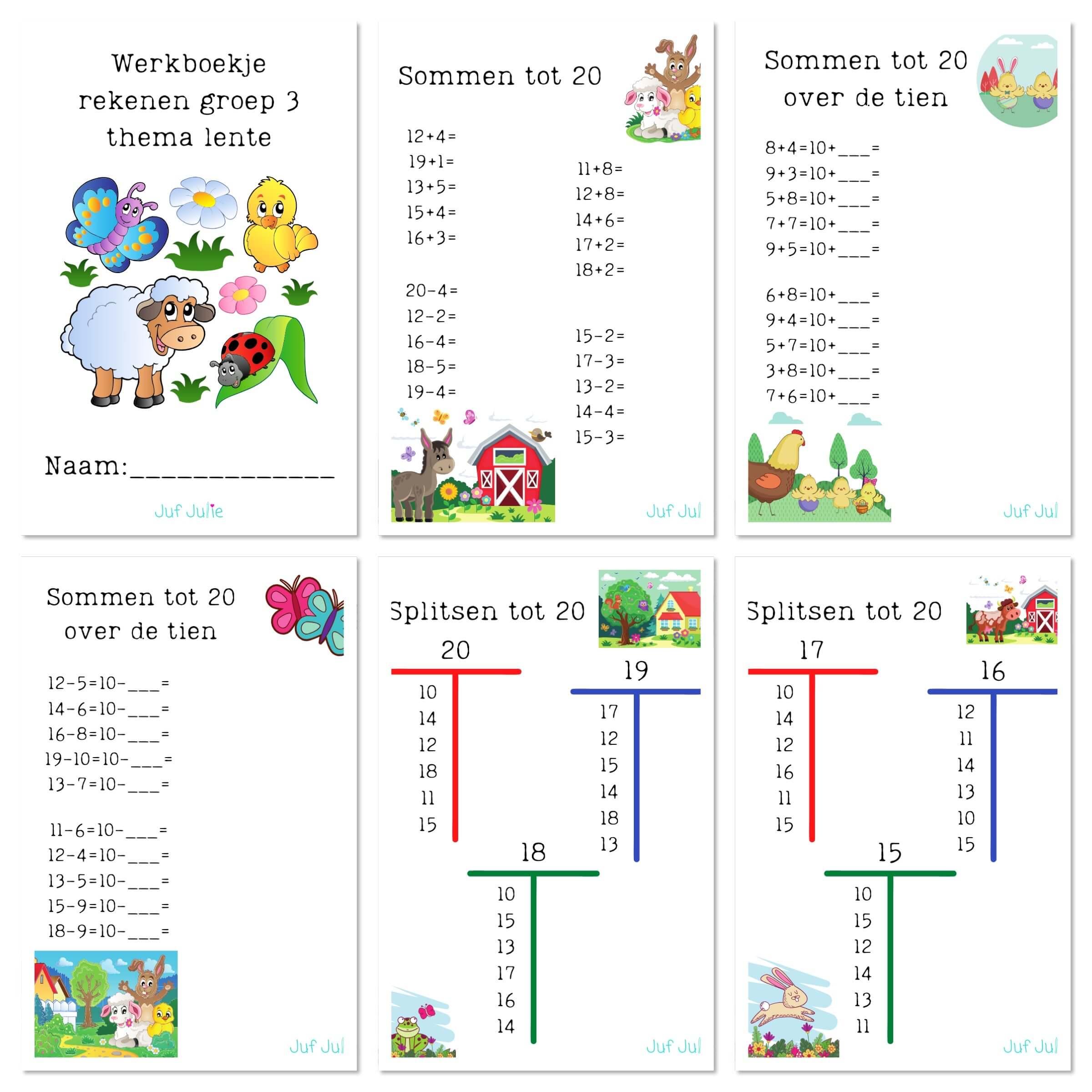 Hedendaags Werkboekje rekenen thema lente groep 3 #3 - Juf Julie DD-86